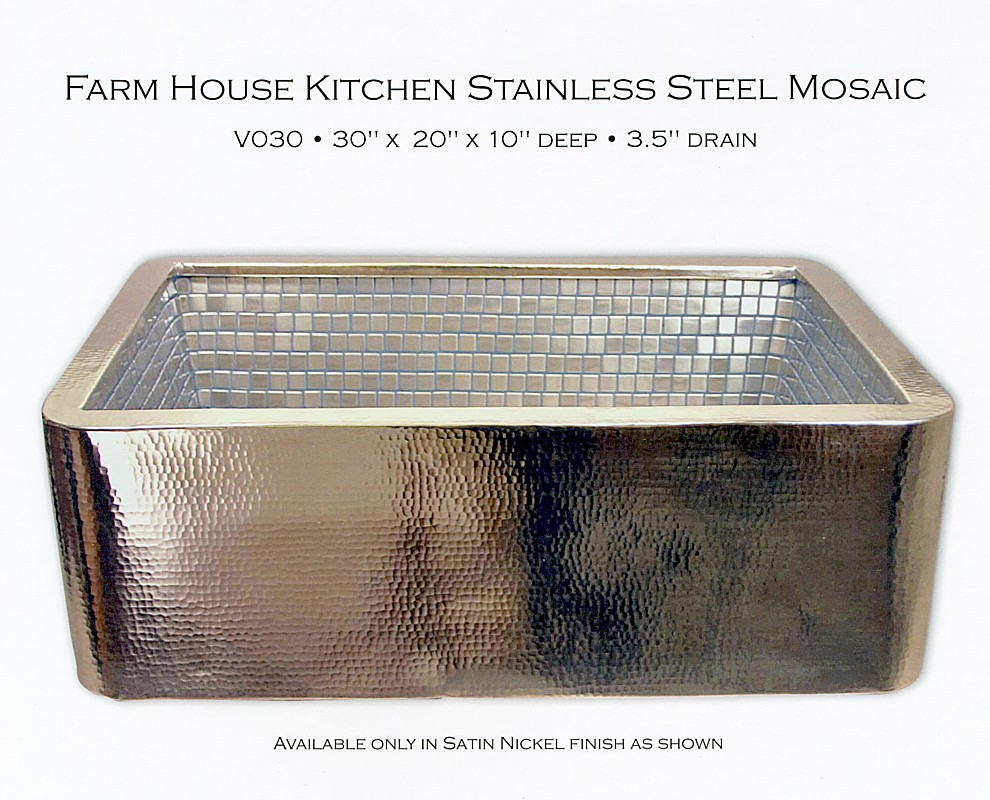 V030 Farmhouse Kitchen Sink Kitchen Sink With Satin Nickel Exterior Stainless Steel Mosaic Interior